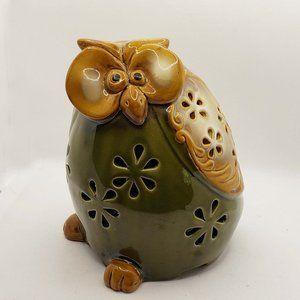 Olive green vintage owl candle holder luminary